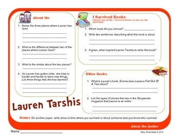 Author Study ~ Internet Research ~  Lauren Tarshis