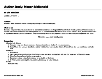 Author Study ~ Internet Research ~  Megan McDonald-Judy Moody Series