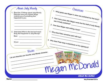Author Study ~ Internet Research ~  Megan McDonald-Judy Mo