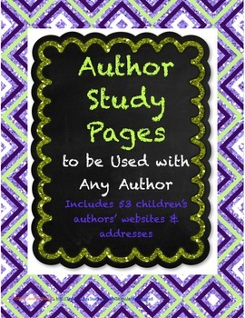 Author Study Pages to Use With Any Author - Aligned to the Common Core!