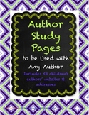 Author Study Pages to Use With Any Author - Aligned to the
