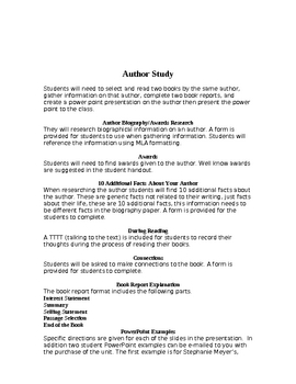 Author Study Power Point Middle School