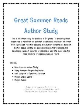Author Study Primary Summer Reading Common Core
