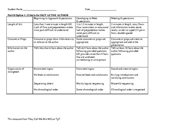 Author Study Project Criteria