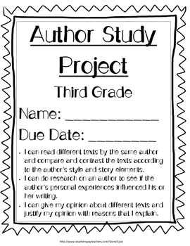 Author Study Project - Third Grade - Aligned to Common Core Standards, ELA