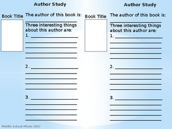 Author Study - Reader's Notebook Page