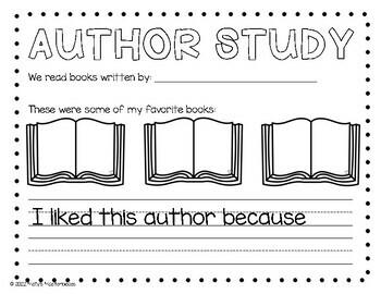 Author Study Response Sheet