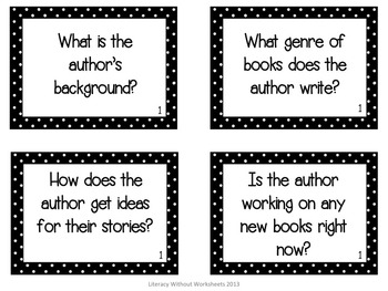 Author Study Task Cards