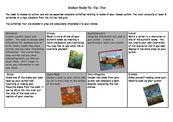 Author Study Tick-Tac-Toe