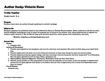 Author Study ~ Internet Research ~ Victoria Kann