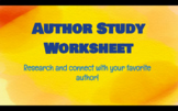 Author Study Worksheet- Biography worksheet for any author