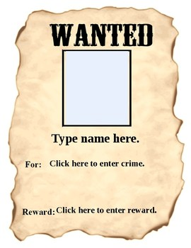 Author Wanted Poster Using Fill-in Forms