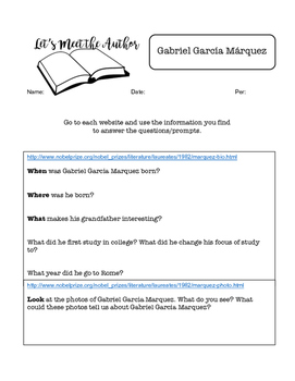 Author Webquest - Gabriel Garcia Marquez