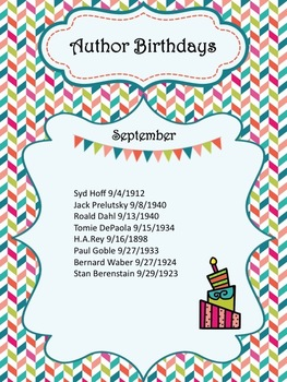Author and Student Birthday Posters for Classroom or Library