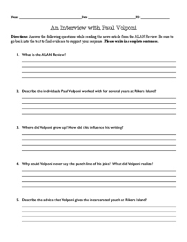 """Author of """"Black and White"""" Paul Volponi Interview Activity and Questions"""