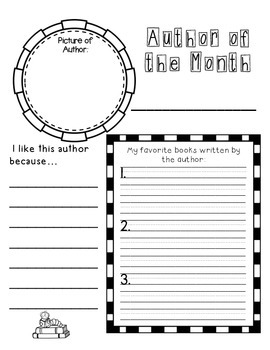 Author of the Month Graphic Organizer