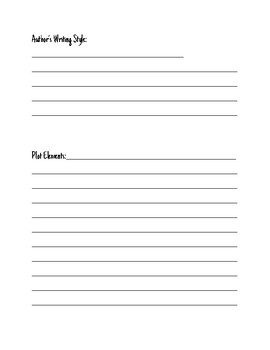 Author's Book Club Note Sheet