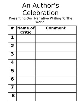 Author's Celebration/Publishing Party/Narrative-- Comment Sheets