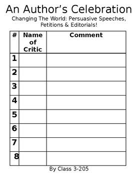Author's Celebration/Publishing Party/Opinion Persuasive-- Comment Sheets