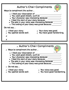 Author's Chair Compliments