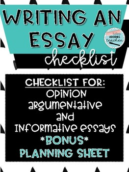 Writing An Essay Checklist & Bonus Planning Sheet!