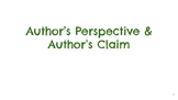Author's Claim and Author's Perspective