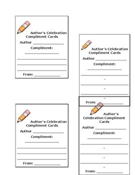 Author's Compliment Cards