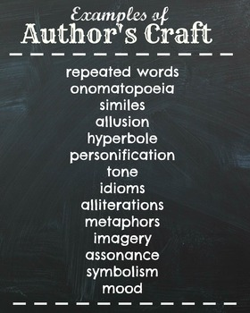 Author's Craft Examples Poster