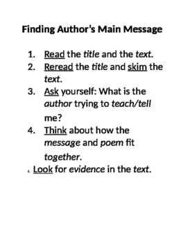 Author's Main Message Anchor Chart