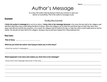 Author's Message Introduction Worksheet