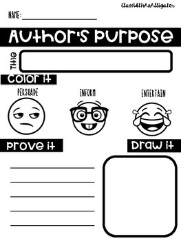 Author's Pie Anchor Chart and Response Sheet