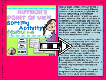 Author's Point of View BUNDLE: Printables, Sort, Game, Performance Tasks