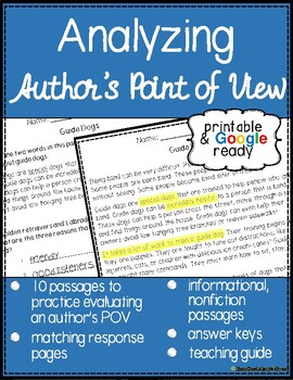 Author's Point of View Reading Passages with Questions