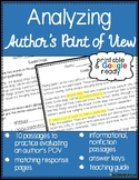 Author's Point of View Reading Comprehension Passages with Questions
