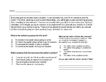 Authors Point Of View Worksheet Teaching Resources Teachers Pay