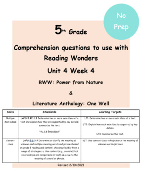 Author's Point of View & Main idea - McGraw Hill Reading Wonders Lit Ant U4W4