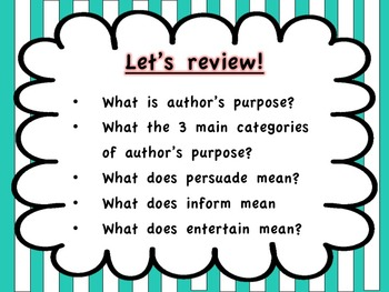 Author's Purpose 2-day Lesson & Game!