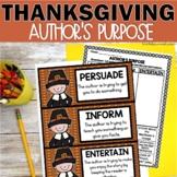 Thanksgiving Author's Purpose Activities