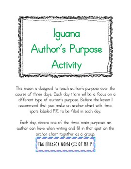 Author's Purpose 3 Day Lesson Iguana Theme