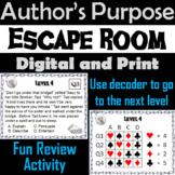 Author's Purpose Activity PIE'ED: Reading Comprehension Escape Room ELA