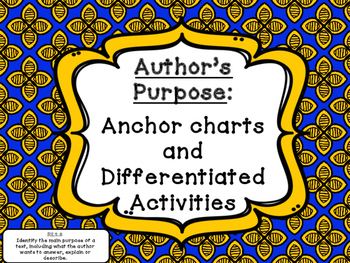 Author?s  Purpose Anchor charts and Differentiated Activities