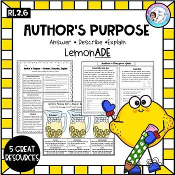 Author's Purpose Pack - Answer, Explain, Describe RI.2.6