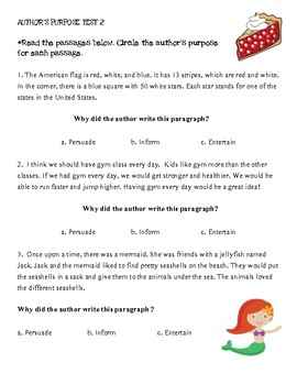 Author's Purpose Assessment- Grade 2