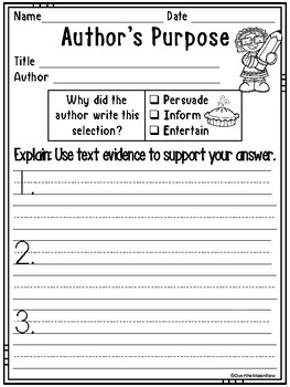 Author's Purpose | Author's Point Reading Response Forms