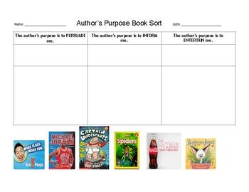 Author's Purpose Book Sort; Persuade, Inform or Entertain