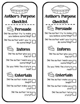 Author's Purpose Bookmark Checklist
