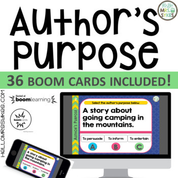 Author's Purpose ~ Boom Cards 36 questions, grades 2-4