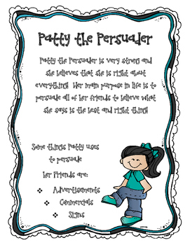 Author's Purpose Character Poster Freebie
