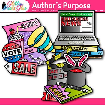 Author's Purpose Chart Clip Art {Persuade, Inform, Entertain Graphics for ELA}