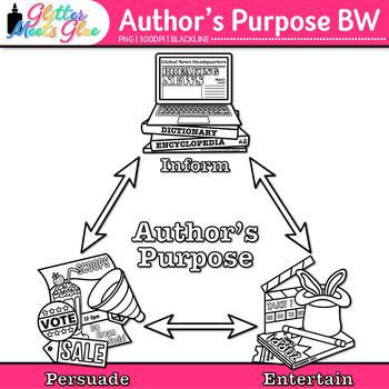 Author's Purpose Chart Clip Art {Persuade, Inform, Entertain Graphics} B&W